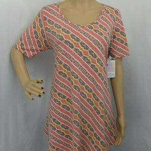 MULTICOLOR PRINT A LINE PERFECT TEE TOP BLOUSE  M
